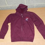 Burgundy hooded zip up jacket