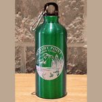 Tall green canteen with Marshy Point logo on front
