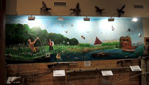 Wall mural of duck hunting with ducks above and shotguns below