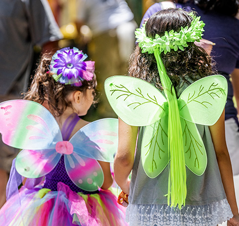 Two girls dressed in colorful faerie costumes